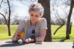 Girl using opioid pills